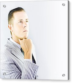 Young Businessman Looking Thoughtful Acrylic Print