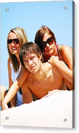 Young Friends On The Summer Beach Acrylic Print by Michal Bednarek