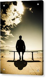 Young Man In Silhouette Sitting In The Sun Acrylic Print