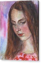 Young Woman Watercolor Portrait Painting Acrylic Print by Svetlana Novikova