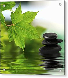 Zen Stones On Water Acrylic Print