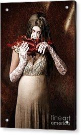 Zombie Vampire Woman Eating Human Hand Acrylic Print by Jorgo Photography - Wall Art Gallery