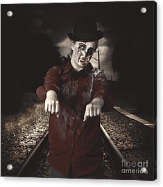 Zombie Walking Undead Down Train Tracks Acrylic Print