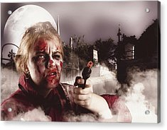 Zombie With Gun In Graveyard. Full Moon Nightmare Acrylic Print