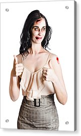 Zombie Woman With Thumbs Up Acrylic Print by Jorgo Photography - Wall Art Gallery