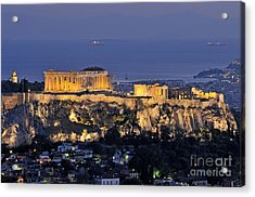 Acropolis Of Athens During Dusk Time Acrylic Print by George Atsametakis