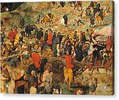 Ascent To Calvary, By Pieter Bruegel Acrylic Print by Pieter the Elder Bruegel