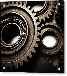 Cogs Acrylic Print by Les Cunliffe