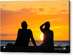 Couple Watching The Sunset On A Beach In Maui Hawaii Usa Acrylic Print