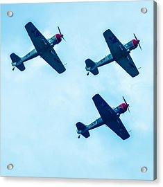 Action In The Sky During An Airshow Acrylic Print by Alex Grichenko
