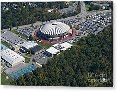 aerials of WVVU campus Acrylic Print by Dan Friend