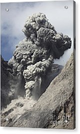 Ash Cloud Rises From Crater Of Batu Acrylic Print by Richard Roscoe