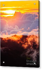 Clouds At Sunrise Over Haleakala Crater Maui Hawaii Usa Acrylic Print
