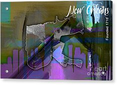 New Orleans Map And Skyline Watercolor Acrylic Print