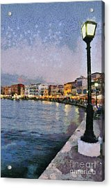 Painting Of The Old Port Of Chania Acrylic Print