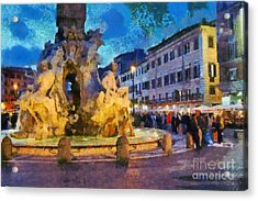 Piazza Navona In Rome Acrylic Print