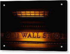 11 Wall St. Building Sign Acrylic Print by Panoramic Images