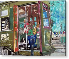 111708 New Orleans Street Car  Acrylic Print by Garland Oldham