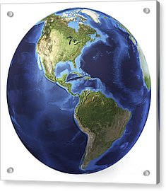 3d Rendering Of Planet Earth, Centered Acrylic Print by Leonello Calvetti