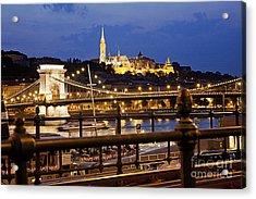 Budapest By Night Acrylic Print by Odon Czintos