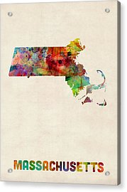 Massachusetts Watercolor Map Acrylic Print by Michael Tompsett