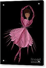 12 Pink Ballerina Acrylic Print by Andee Design