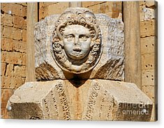 Sculpted Medusa Head At The Forum Of Severus At Leptis Magna In Libya Acrylic Print by Robert Preston