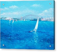 Sydney Harbour Sail Boats And The Opera House By Jan Matson Acrylic Print