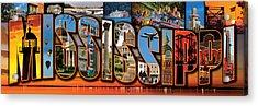 12 X 36 Horizontal Mississippi Postcard Version 1 Acrylic Print