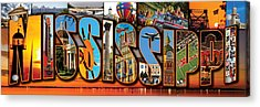 12 X 36 Horizontal Mississippi Postcard Version 2 Acrylic Print