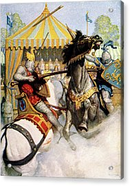 1200s Two Jousting Medieval Knights Acrylic Print
