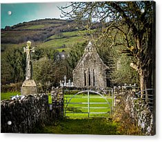 12th Century Cross And Church In Ireland Acrylic Print