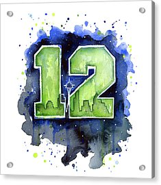 12th Man Seahawks Art Seattle Go Hawks Acrylic Print by Olga Shvartsur
