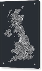 Great Britain Uk City Text Map Acrylic Print
