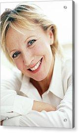 Smiling Woman Acrylic Print by Ian Hooton/science Photo Library