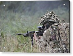 Welsh Guards Training Acrylic Print by Andrew Chittock