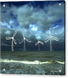 Wind Turbine Acrylic Print by Bernard Jaubert