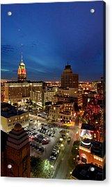 High Angle View Of Buildings Lit Acrylic Print