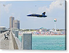 Blue Angels On Pensacola Beach Acrylic Print by Specialist 2nd Class Andrea Perez
