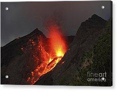 Strombolian Type Eruption Of Batu Tara Acrylic Print by Richard Roscoe