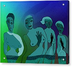 154 -  Blue Green Ladies   Acrylic Print by Irmgard Schoendorf Welch