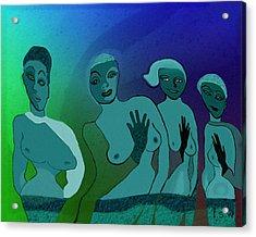 154 -  Blue Green Ladies   Acrylic Print