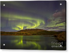 Aurora Borealis With Moonlight At Fish Acrylic Print by Joseph Bradley