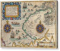 1601 De Bry And De Veer Map Of Nova Zembla And The Northeast Passage Acrylic Print by Paul Fearn
