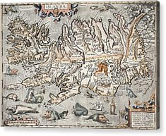 1603 Ortelius Iceland Monster Map Acrylic Print by Paul D Stewart