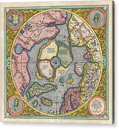 1606 Mercator Hondius Map Of The Arctic Acrylic Print by Paul Fearn