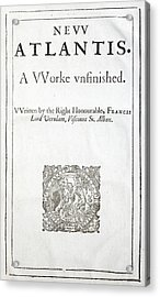1627 Francis Bacon New Atlantis Frontis Acrylic Print by Paul D Stewart