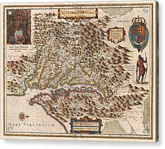1630 Hondius Map Of Virginia And The Chesapeake Acrylic Print by Paul Fearn