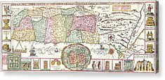 1632 Tirinus Map Of The Holy Land Acrylic Print by Paul Fearn