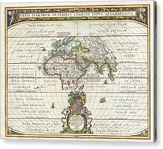 1650 Jansson Map Of The Ancient World Acrylic Print by Paul Fearn
